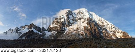 Evening Panoramic View Of Mount Salkantay, Salcantay Trek In The Way To Machu Picchu, Cuzco Area In