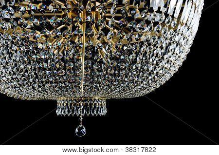 Closeup Contemporary glass chandelier