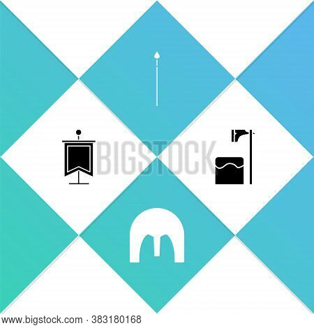 Set Medieval Flag, Iron Helmet, Spear And Executioner Axe In Tree Block Icon. Vector