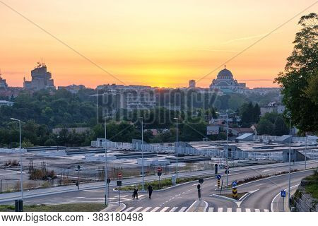 Belgrade / Serbia - July 27, 2019: Sunrise View Cityscape Of Belgrade, Capital Of Serbia, Dominated