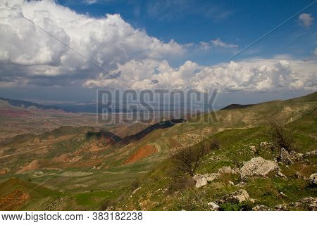 Beautiful Landscape Of Green Meadow Covered With Fresh Grass In The Summer Mountains. Forest Glade H