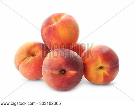 Delicious Ripe Juicy Peaches Isolated On White