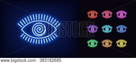 Neon Hypnotic Eye Icon. Glowing Neon Eye Sign With Spiral Iris, Mesmeric Vision In Vivid Colors. Mys