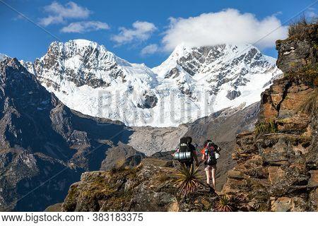Couple On Inca Trekking Trail, Cqoquequirao Trek, Mount Saksarayuq, Andes Mountains, Peru