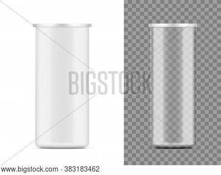 White Matte Paper And Transparent Plastic Tube