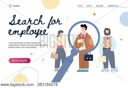 Website Banner Mockup For Searching Employee And Recruitment With Cartoon Characters Flat Vector Ill