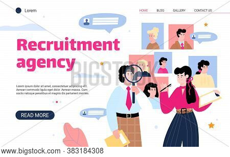 Recruitment Agency Website Interface With Hr Managers Searching For Best Candidate, Flat Cartoon Vec