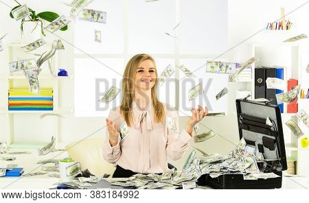 Finances Is My Passion. Smart Blonde Earn Lot Of Money. Financial Success. Financial Expert. Girl Wi