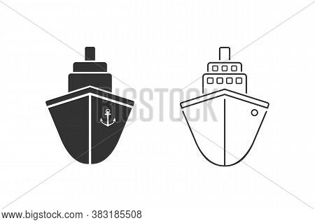 Ship Line Icon Set Vector. Cruise Ship Symbol Icon