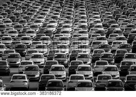 Volkswagen Group Rus, Russia, Kaluga - May 24, 2020: Rows Of A New Cars Parked In A Distribution Cen