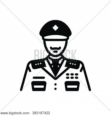 Black Solid Icon For General Widespread Police Man Policeman Officer Avatar Detective Enforcement