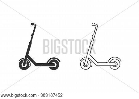 Scooter Prohibition Electric Scooter Line Icon Set. Vector Illustration Isolated