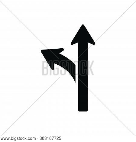 Black Solid Icon For Way Road Highway Navigation Avenue Path Route Walkway Direction Options Sign