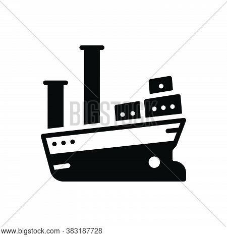 Black Solid Icon For Vessel Cargo Ship Boat Marine Transport Travel Maritime Cruise Sea Large