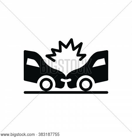 Black Solid Icon For Accident Killed-and-wounded Mishap Casualty  Occurrence Disaster Crash Damage V