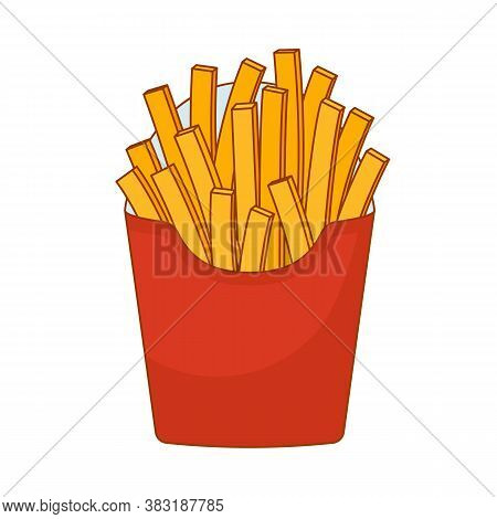 French Fries In Red Paper Pack On White Background. Icon Of Fried Potatoes. Sticker, Wallpaper, Web