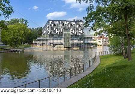 Moscow, Russia - July 11, 2020: Vdnh Park At Sunny Summer Morning. Pavilion 38. Fishing.  Vdnh Is Po