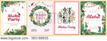 Set Of Invitation Posters For Hawaiian Aloha Party With Characters Of Dancers And Tropical Plants, F
