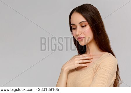 Close Up Studio Photo Portrait Of Lovely Attractive Gorgeous With Perfect Good Ideal Nice Skin Lady