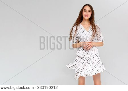 Beautiful Fashion Woman Dancing - Isolated Over A White Background