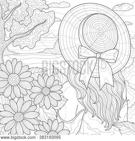 The Girl In The Hat Looks At The Field. Flowers And Nature.coloring Book Antistress For Children And