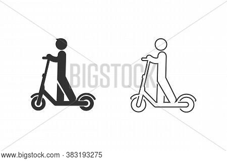 Electric Scooter Person Riding E-scooter Black Line Icon Set Glyph Illustration