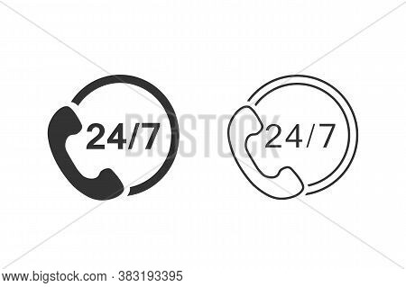24 7 Call Center Support Vector Line Icon Set