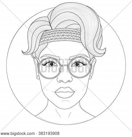 Hippie Girl With Glasses.coloring Book Antistress For Children And Adults. Illustration Isolated On