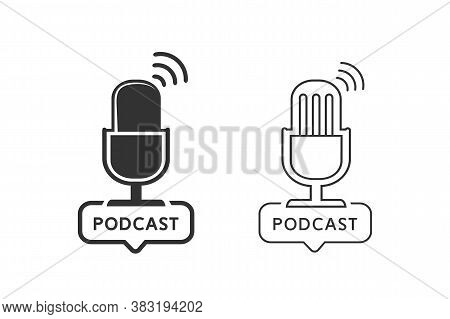 Podcast Radio Line Icon Set Illustration. Studio Table Microphone Broadcast Text Podcast