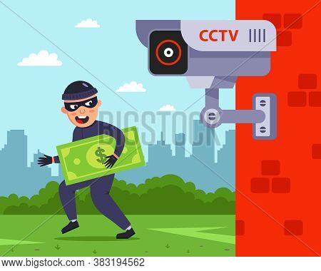 Fixation To An Outdoor Surveillance Camera. The Criminal Rob People. Flat Vector Character Illustrat