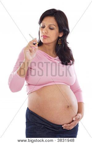 Pretty Pregnant With A Cigarette
