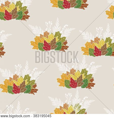 Seamless Pattern With Fall Leaf, Abstract Sparse Leaf Texture Design