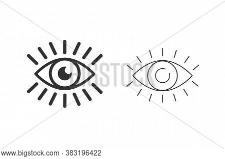 Eye With Eyelashes Line Icon Set. Look And Vision Icon. Eye Vector Icon