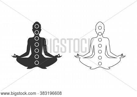 Man Figure With Symbols Of Chakras Meditation Concept, Yoga Position. Vector Line Icon Set