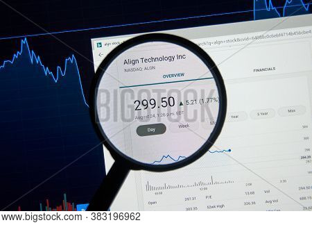 Montreal, Canada - August 28, 2020: Align Stock Algn Ticker Under Magnifying Glass. Align Technology