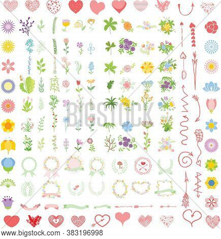 Set Of Wedding Graphic Wreath, Flowers, Arrows, Hearts, Laurel, Ribbons And Labels, Brushes Depictin