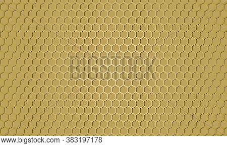 Golden Carbon Fiber Texture. Gold Metal Hexagon Texture Steel Background. Web Design Template. Abstr