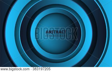 Blue And Dark Blue Geometric Abstract Background. Gradient Metallic Circles In The Center On A Color