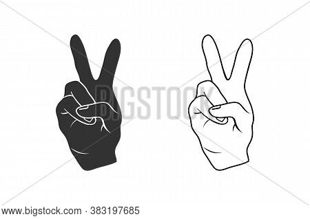 The Fingers Or Hand Signals Mean Peace. Vector Icon Set