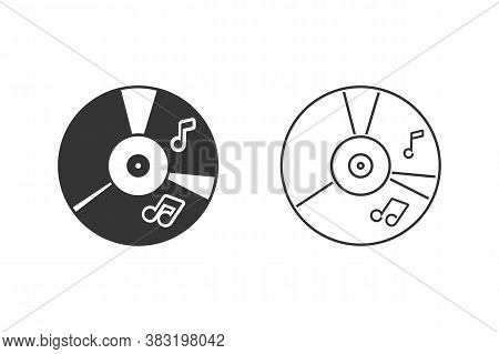 Cd Music Icon Set Flat Style. Vector Illustration