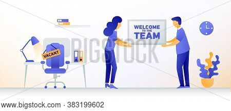 Welcome New Employee. Man And Woman Are Hiring New Staff. Vacant Place In An Office. Workplace With