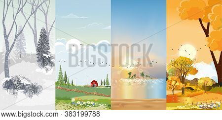 Set Vertical Banner Landscape Natural Backgrounds Of Four Seasons. Winter Wonderland, Rainy On Sprin