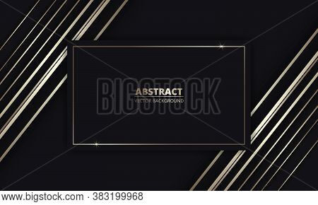 Gold Luxury Background. Modern Black Luxury Abstract Background With Golden Lines And Frame For Titl