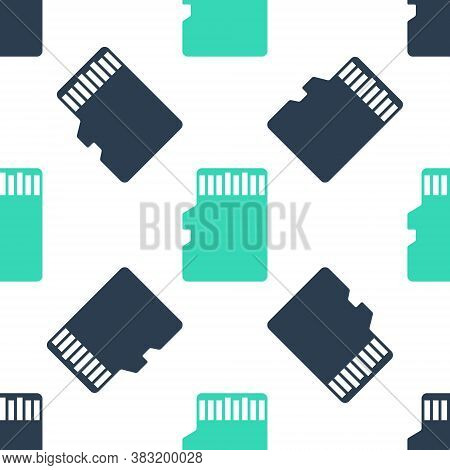 Green Micro Sd Memory Card Icon Isolated Seamless Pattern On White Background. Vector