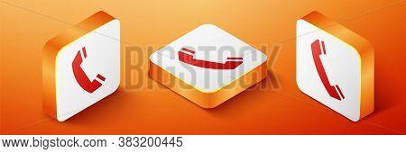 Isometric Telephone Handset Icon Isolated On Orange Background. Phone Sign. Call Support Center Symb