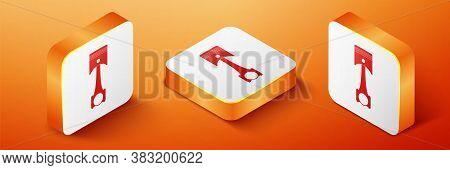 Isometric Engine Piston Icon Isolated On Orange Background. Car Engine Piston Sign. Orange Square Bu