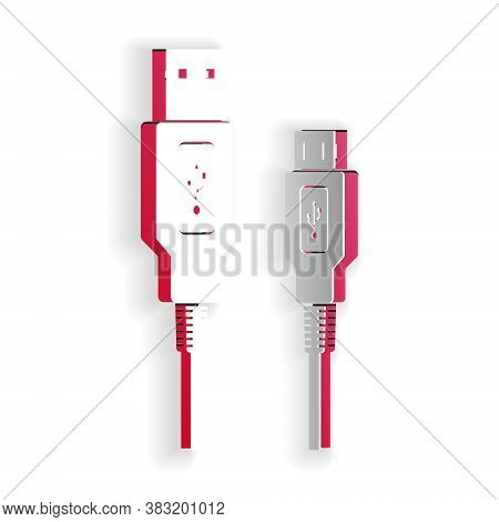 Paper Cut Usb Micro Cables Icon Isolated On White Background. Connectors And Sockets For Pc And Mobi