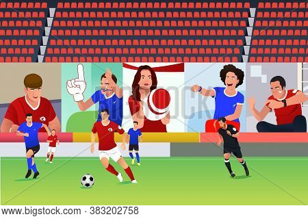 A Vector Illustration Of Soccer Match With Virtual Fans