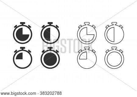 Stopwatches Line Icons Set. Vector Illustration. Modern Flat Style