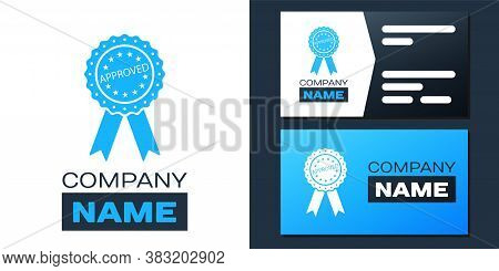 Logotype Approved Or Certified Medal Badge With Ribbons Icon Isolated On White Background. Approved
